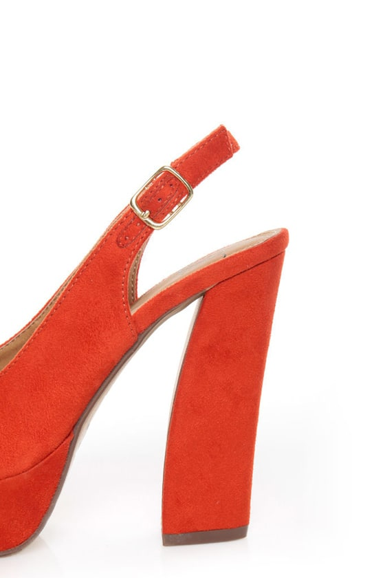 My Delicious Fausta Red Peep Toe Slingback Heels at Lulus.com!