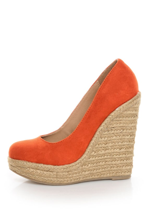 My Delicious Glow Burnt Orange Suede Espadrille Wedges at Lulus.com!