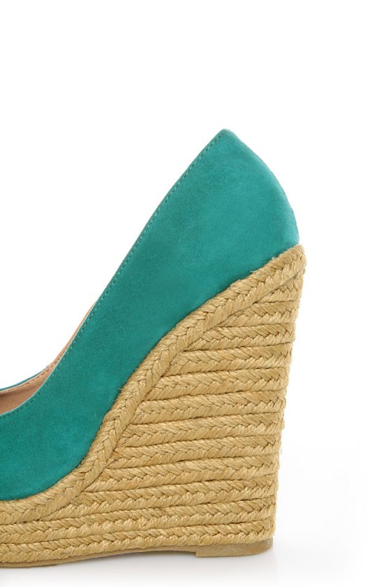 My Delicious Glow Dark Teal Suede Espadrille Wedges at Lulus.com!