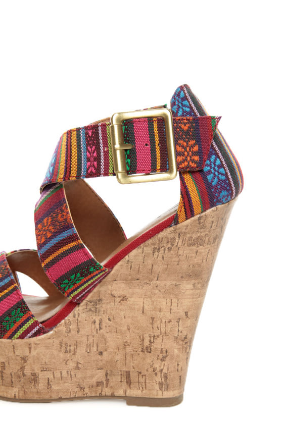 My Delicious Hall Red Multi Guatemala Print Platform Wedges