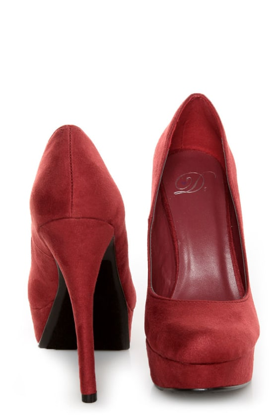 My Delicious Jones Burgundy Suede Platform Pumps