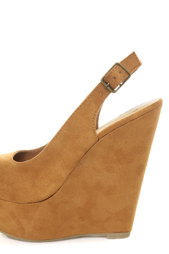 My Delicious Loco Dark Chamois Slingback Platform Wedges