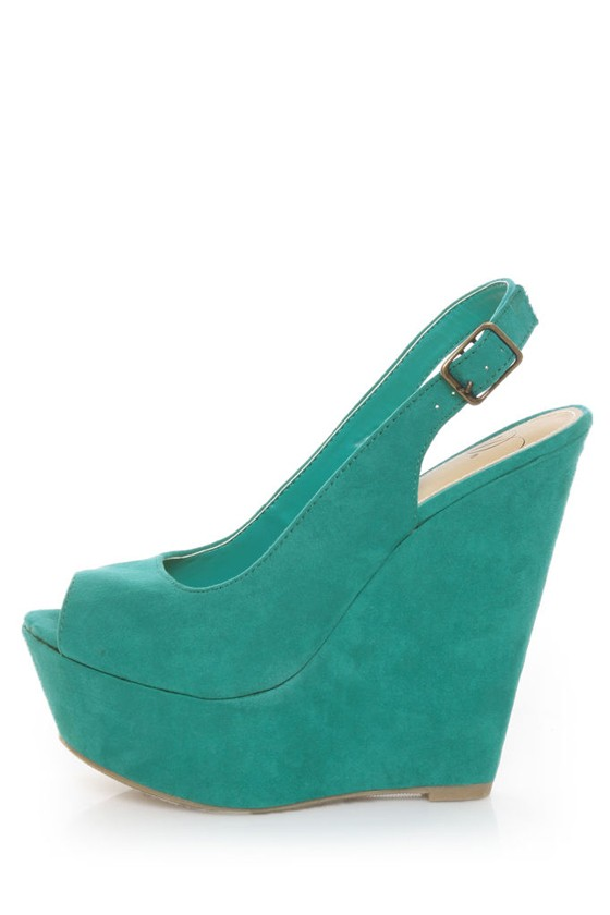 My Delicious Loco Dark Teal Slingback Platform Wedges
