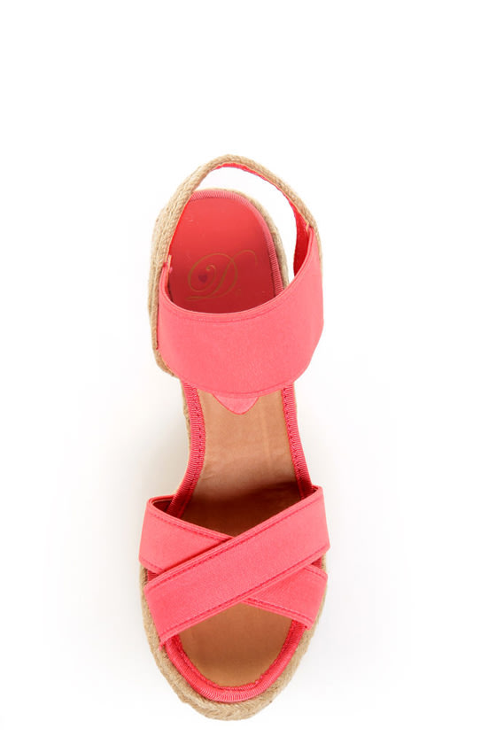 My Delicious Moody Salmon Elastic Espadrille Wedge Sandals