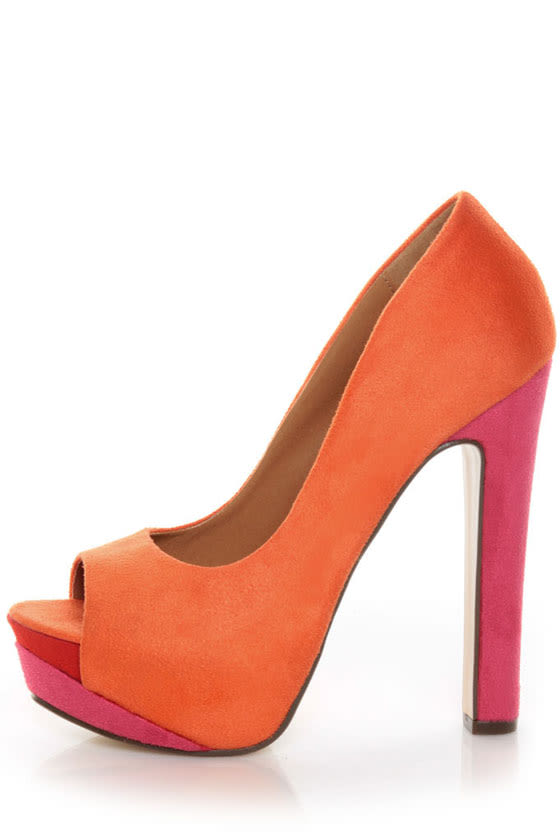 My Delicious Rainer Coral Multi Color Block Platform Heels