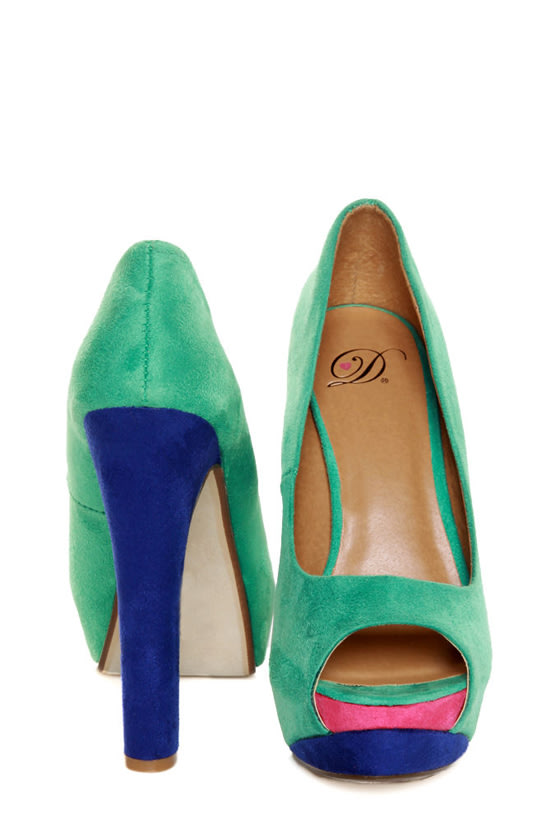 My Delicious Rainer Teal Multi Color Block Platform Heels at Lulus.com!