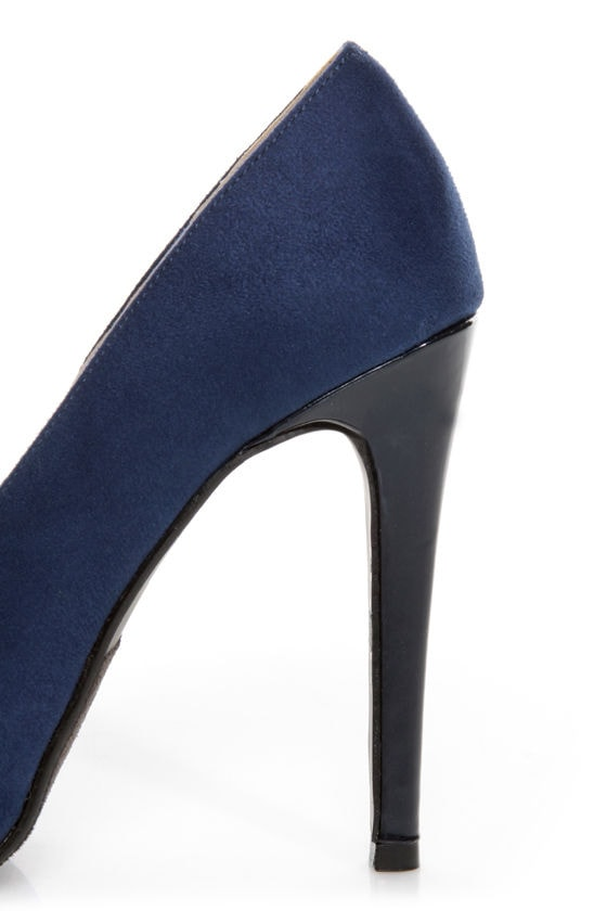 My Delicious Seal Blue Two Tone Cap-Toe Platform Pumps at Lulus.com!