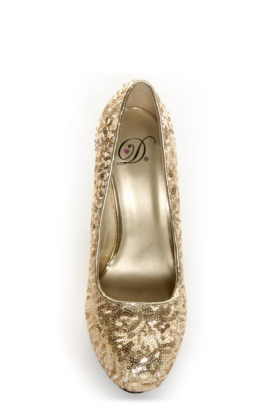 My Delicious Shiro Gold Sequin Sparkle Pumps