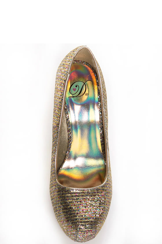 My Delicious Shiro Gold Glitter Multi Sparkle Pumps