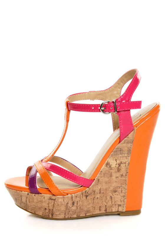 My Delicious Usha Orange Multi Patent T-Strap Platform Wedges