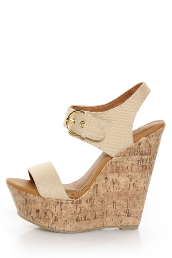 My Delicious Walro Beige Cotton Platform Wedge Sandals