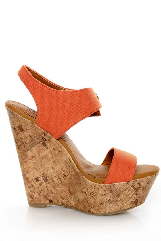 My Delicious Walro Burnt Orange Cotton Platform Wedge Sandals