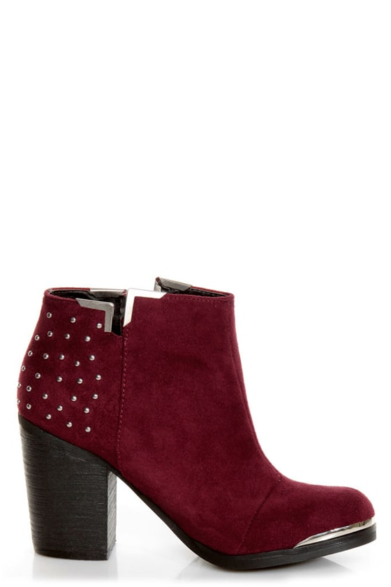 MTNG Fullu Aquila Burgundy Studded Ankle Boots at Lulus.com!
