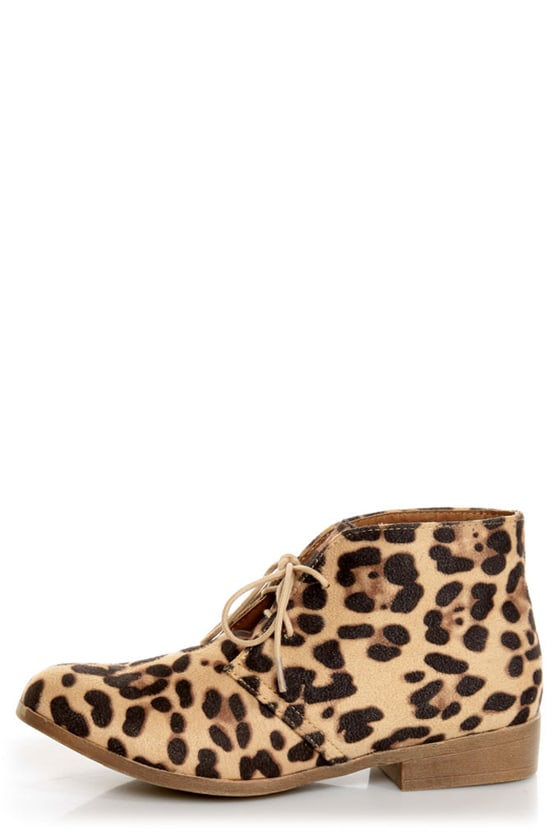 Madden Girl Dontee Leopard Print Lace-Up Desert Boots