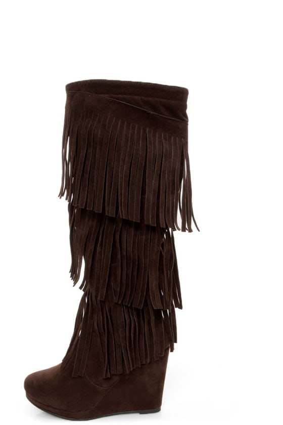 madden frolicck brown fringe knee high wedge boots