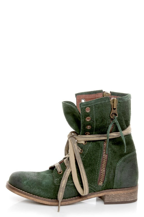 5ad6078f1ec6 MTNG Hydra 54952 Wax Green Suede Lace-Up Ankle Boots -  139.00