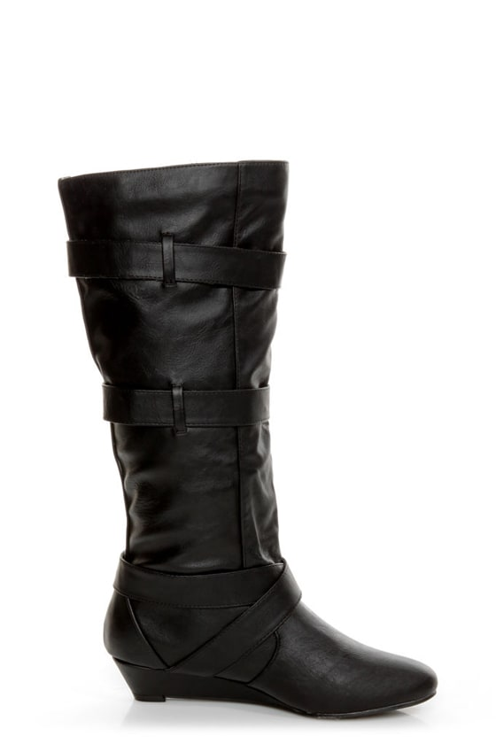 Madden Girl Ilstrate Black Belted Sliver Wedge Boots