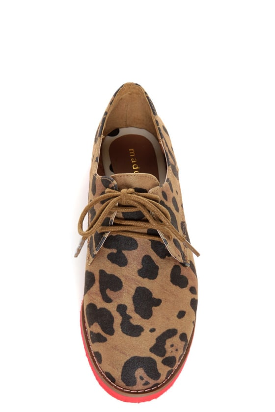 Madden Girl Jacobz Leopard Red Sole Lace-Up Oxfords