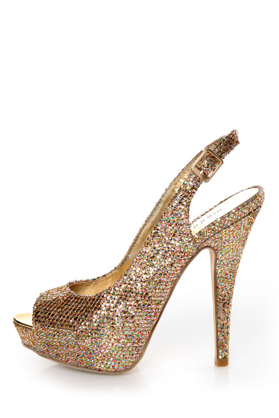 Madden Girl Jassperr Gold Multi Glitter Peep Toe Party Pumps