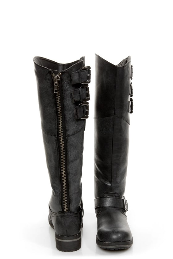 Madden Girl Lundunn Black Paris Belted Riding Boots at Lulus.com!