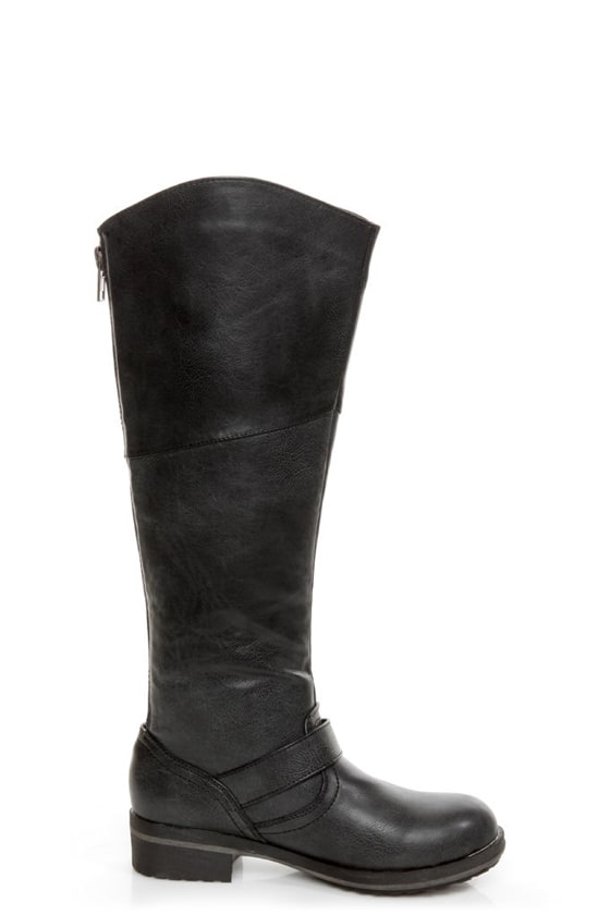Madden Girl Lundunn Black Paris Belted Riding Boots