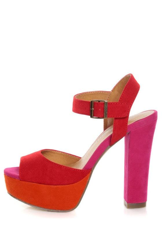 Madden Girl Naughtyy Red Multi Color Block Platform Heels - $49.00