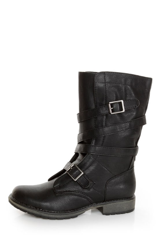 Madden Girl Raszcal Black Slouchy Belted Combat Boots - $79.00