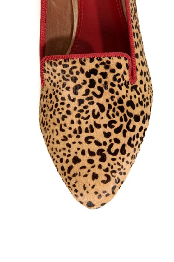 Mia Bardot Leopard Print Pony Fur Pointed Smoking Slipper Flats at Lulus.com!