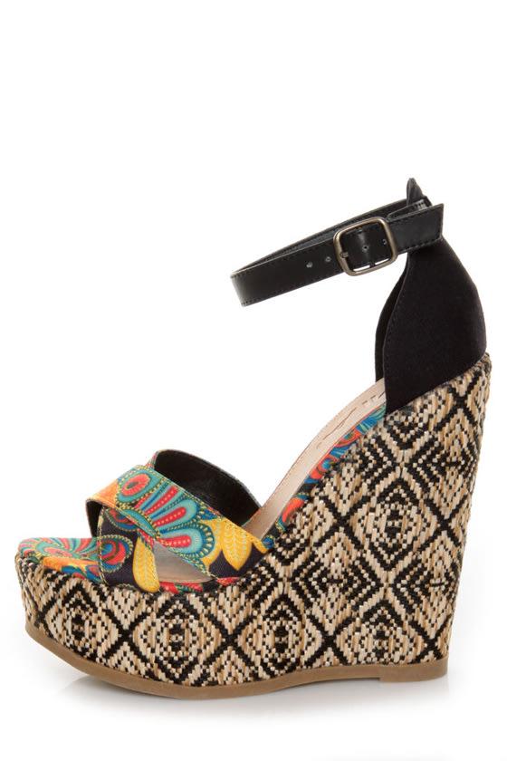 Mia Reeba Black Multi Print Platform Wedge Sandals