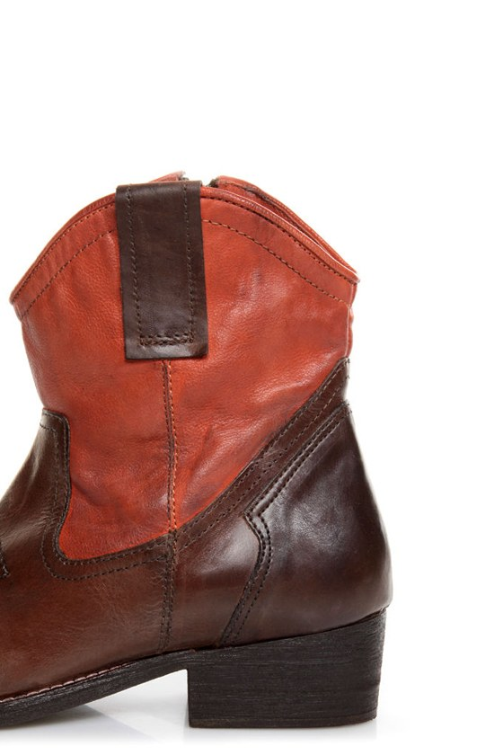 Mia Richwood Brown and Orange Two-Tone Leather Cowboy Boots