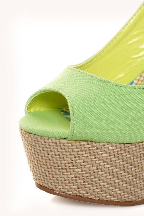 Machi Anita Mint Green Slingback Platform Heels