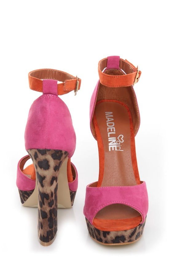 Madeline Girl Teddy Fuchsia & Leopard Print Color Block Heels at Lulus.com!