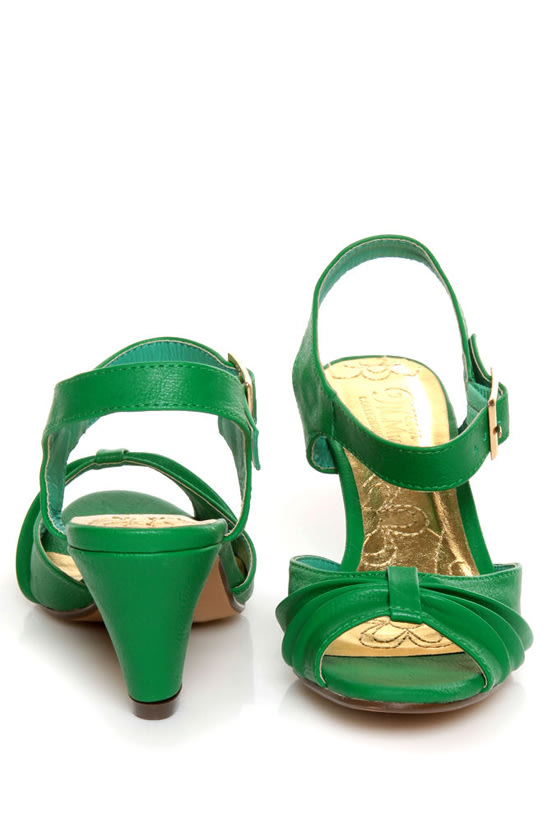 Mona Mia Amparito Green Ruched Peep Toe Kitten Heels - $38.00