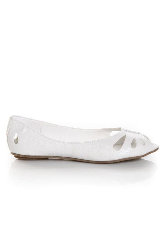Miss Me Fisher 1 White Cutout Peep Toe Flats