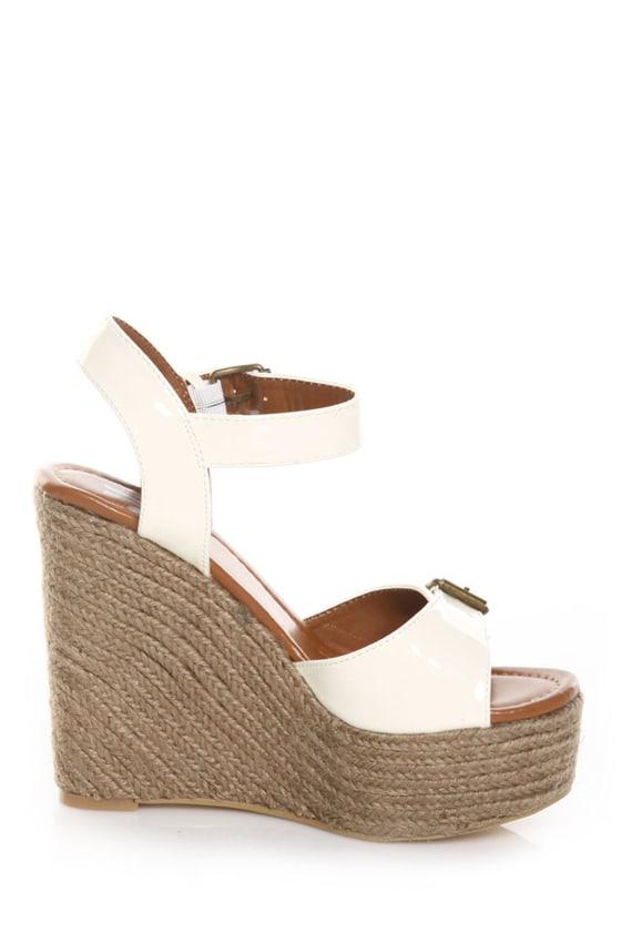 Miss Me Jaden 2 White Patent Espadrille Wedge Sandals