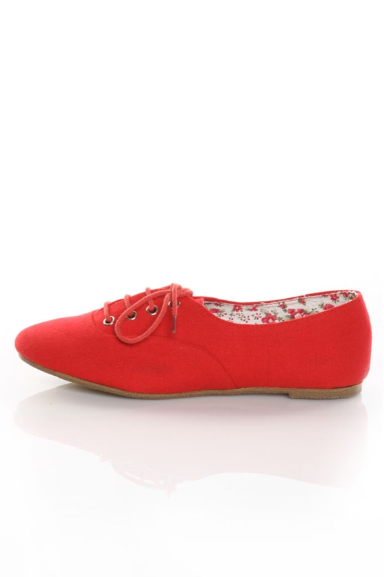 Miss Me Juno 1 Red Lace-Up Oxford Flats