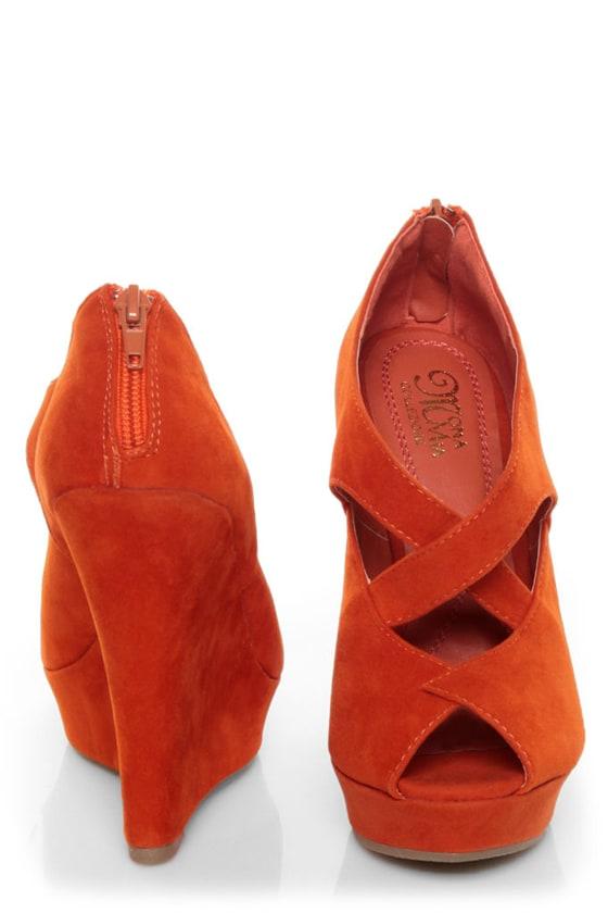 Mona Mia Layla Orange Suede Peep Toe Wedges