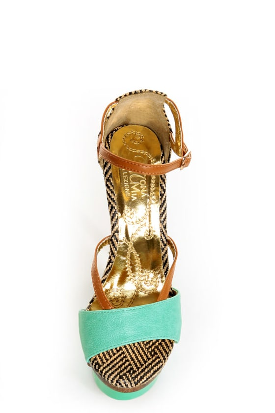 Mona Mia Mayo Mint Tribal Patterned Sculpted Platform Heels at Lulus.com!
