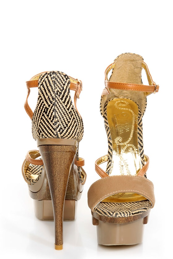 Mona Mia Mayo Taupe Tribal Patterned Sculpted Platform Heels