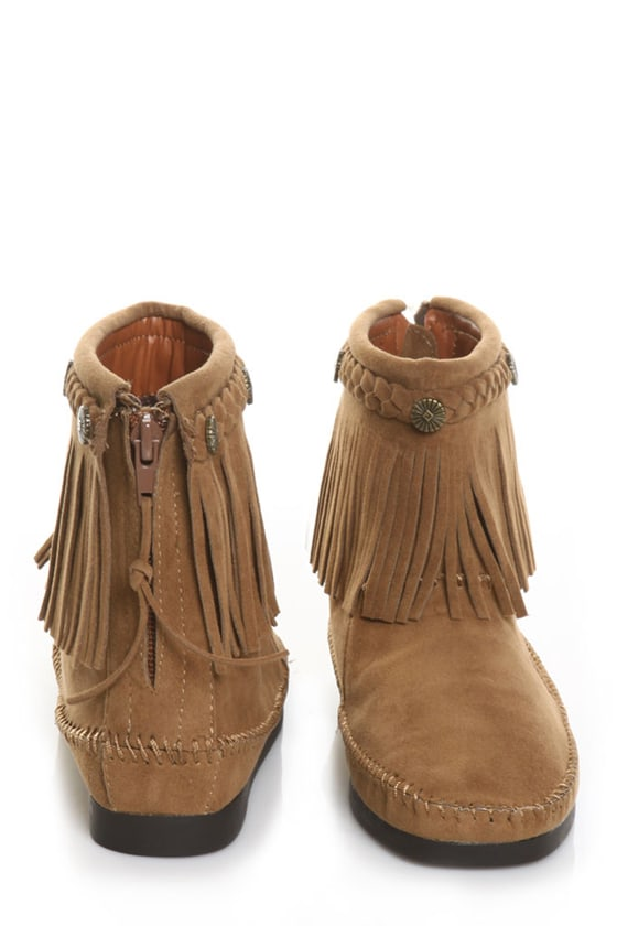 Miss Me Ponie 1 Tan Fringe Moccasin Ankle Boots