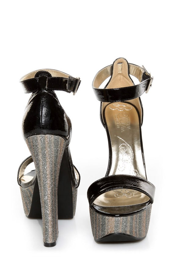 Mona Mia Salud Black Patent Glitter Stripe Platform Heels