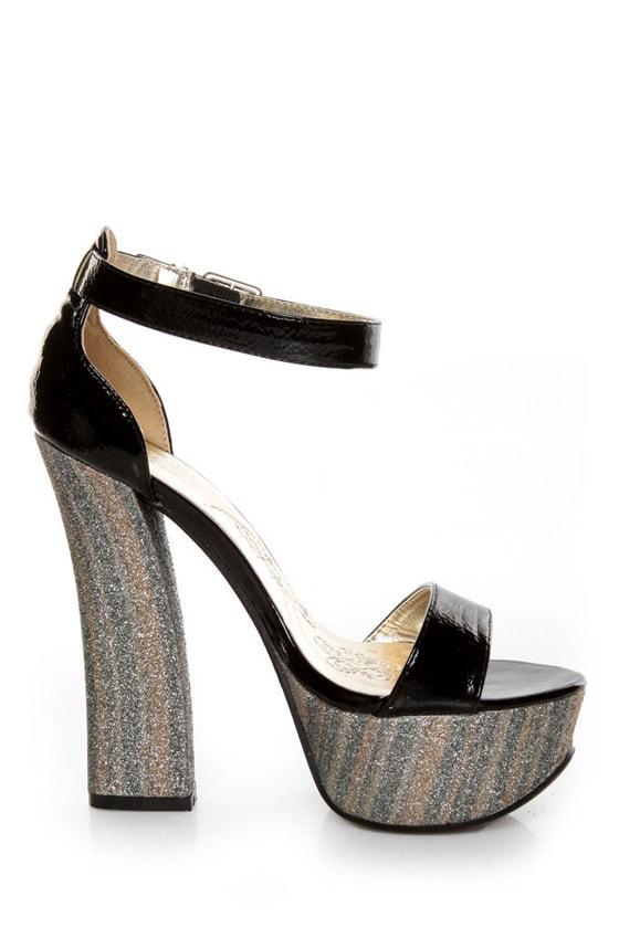 Mona Mia Salud Black Patent Glitter Stripe Platform Heels at Lulus.com!