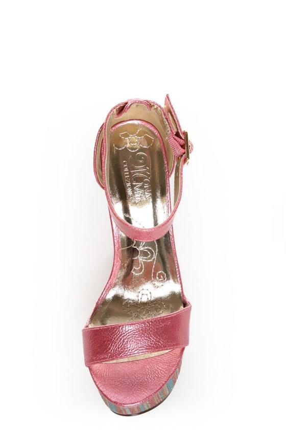 Mona Mia Salud Pink Metallic Glitter Stripe Platform Heels at Lulus.com!
