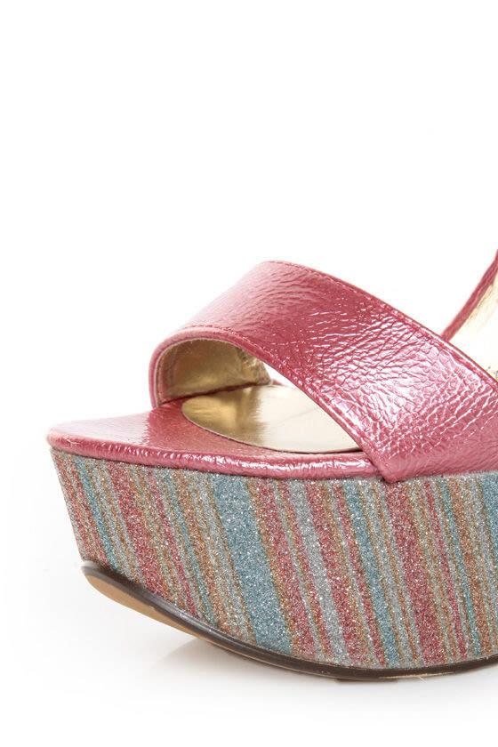 Mona Mia Salud Pink Metallic Glitter Stripe Platform Heels