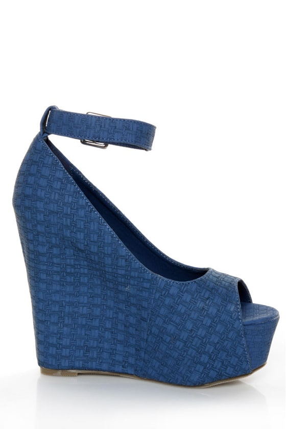Mona Mia Yuriana Blue Textured Peep Toe Platform Wedges at Lulus.com!