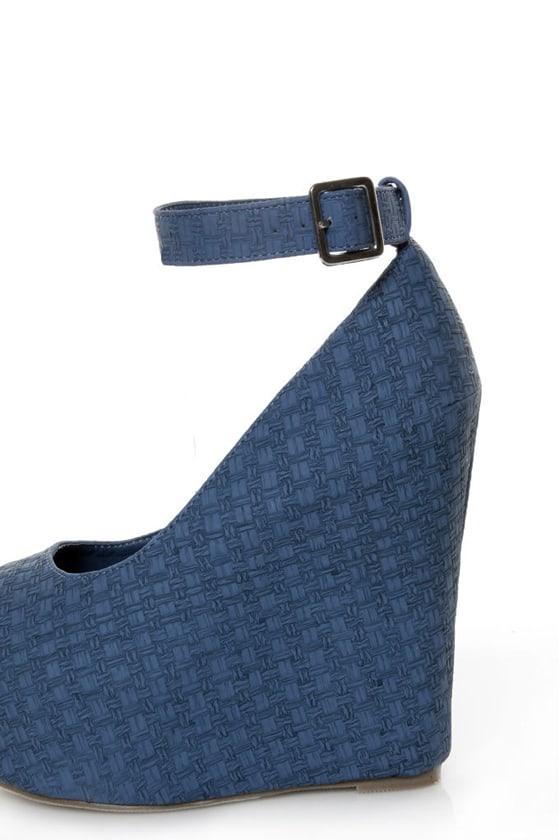Mona Mia Yurian Blue Textured Peep Toe Platform Wedges