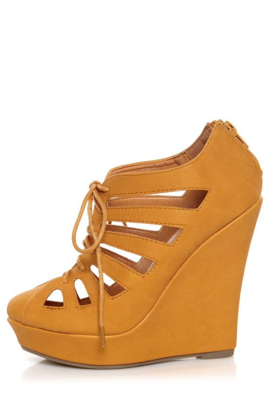 Mona Mia Hedy Yellow Lace-Up Cutout Wedge Booties