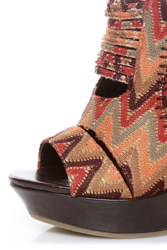 Mona Mia Lori Brown Multi Peekaboo Peep Toe Wedges