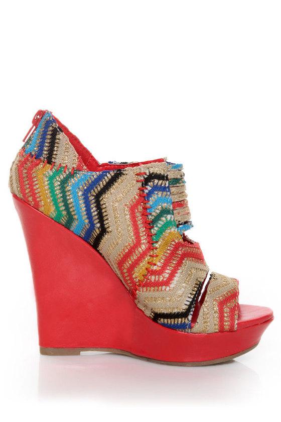 Mona Mia Lori Red Multi Rainbow Peekaboo Peep Toe Wedges