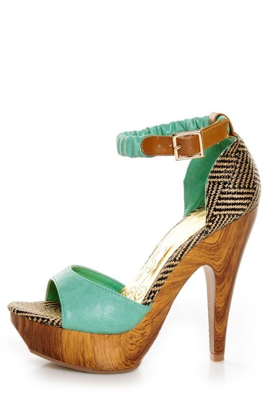 Mona Mia Trinidad Mint, Black & Tan Woven Platform Heels at Lulus.com!